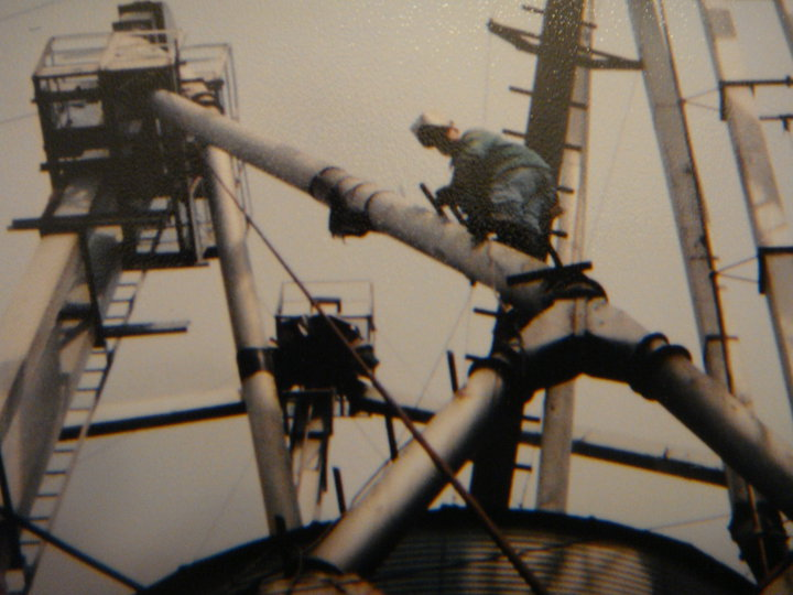 Floyd Jones, of Moonlight Welding, at work on a Grain Elevator