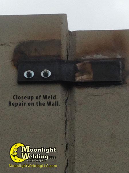 concrete wall repair after closeup