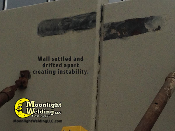 concrete wall repair closeup